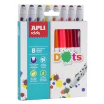 Kropkowe flamastry Apli Kids - 8 kolorów