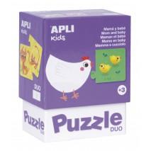Puzzle dwuczęściowe Apli Kids - Mamy i ich dzieci 3+