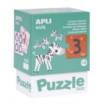Puzzle dwuczęściowe Apli Kids - Liczenie zwierzątek 3+