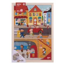 Drewniane puzzle w ramce Apli Kids - Miasto 4+