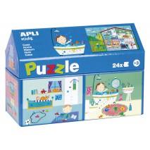 Puzzle w kartonowym domku Apli Kids - W domu 3+