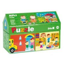 Puzzle w kartonowym domku Apli Kids - W szkole 3+