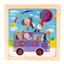 Drewniane puzzle Apli Kids - Autobus 3+