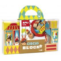 Drewniane klocki z woreczkiem Apli Kids - Cyrk