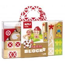 Drewniane klocki z woreczkiem Apli Kids - Farma