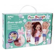 Zestaw do stylizacji z 3 małymi laleczkami i masą plastyczną Apli Kids